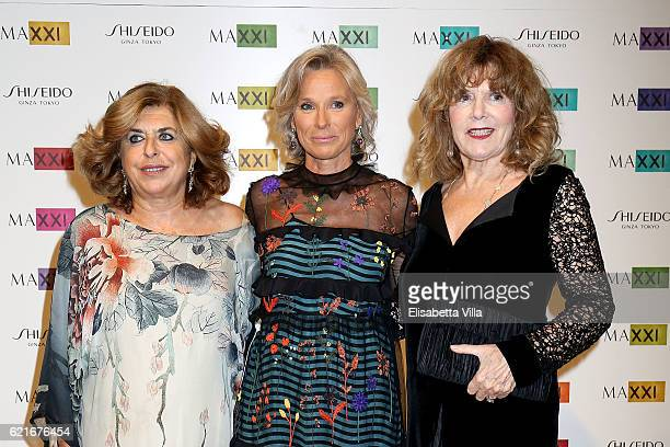 Caterina Caselli Giovanna Melandri President of Fondazione MAXXI and Matilde Bernabei attend a photocall for the MAXXI Acquisition Gala Dinner 2016...