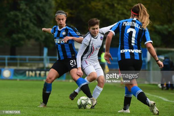 Caterina Fracaros of FC Internazionale Women competes for the ball with Kristyna Sivakova of Orobica Women during the Women Serie A match between FC...
