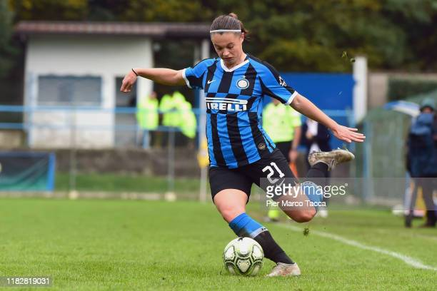 Caterina Fracaros of FC Internazionale Women in action during the Women Serie A match between FC Internazionale and Orobica at Campo Sportivo F...