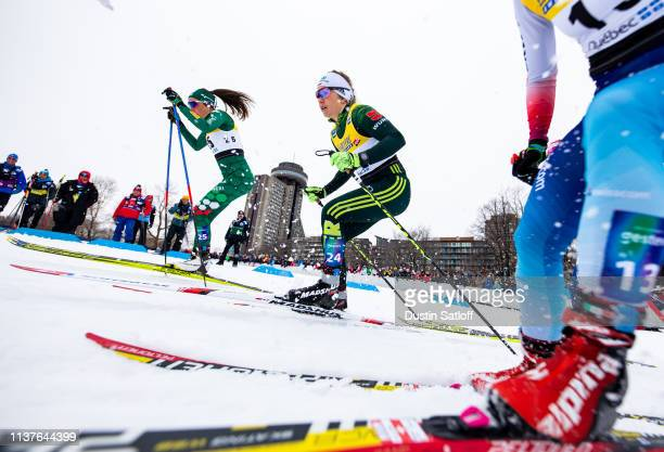 Caterina Ganz of Italy and Sandra Ringwald of Germany compete in the sprint quarterfinal heat during the FIS Cross Country Ski World Cup Final on...