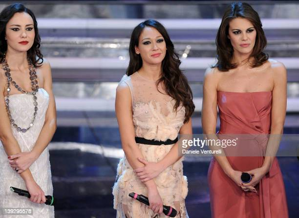 Caterina Misasi Dajana Roncione and Bianca Guaccero attend the closing night of the 62th Sanremo Song Festival at the Ariston Theatre on February 18...