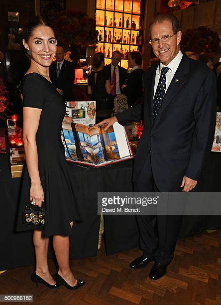 Caterina Murino and Edouard Ettedgui, Group Chief Executive of Mandarin Oriental Hotel Group, attend a champagne reception to celebrate the launch of...