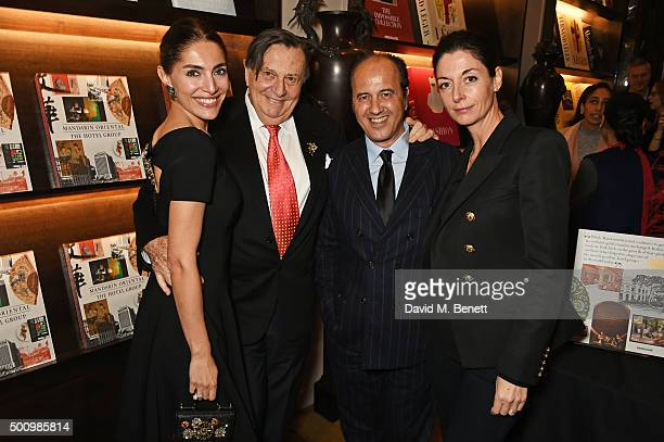 "Caterina Murino, Barry Humphries, Prosper Assouline and Mary McCartney attend a champagne reception to celebrate the launch of ""Mandarin Oriental:..."