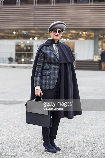 Caterina Paneda with Sastreria 91 dress is seen on January 12 2017 in Florence Italy