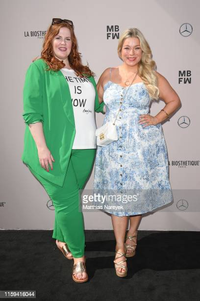 Caterina Pogorzelski and Tanja Marfo attend the Danny Reinke show during the Berlin Fashion Week Spring/Summer 2020 at ewerk on July 01 2019 in...