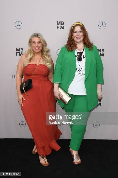 Caterina Pogorzelski and Tanja Marfo attend the Lana Mueller show during the Berlin Fashion Week Spring/Summer 2020 at ewerk on July 01 2019 in...