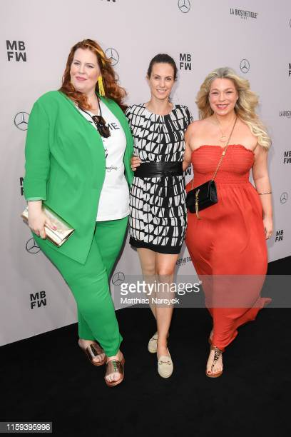 Caterina Pogorzelski Katrin Wrobel and Tanja Marfo attend the Lana Mueller show during the Berlin Fashion Week Spring/Summer 2020 at ewerk on July 01...