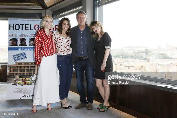 Caterina Shulha Silvia D'Amico Simone Spada and Barbora Bobulova attend a photocall for 'Hotel Gagarin' at Hotel Eden on May 22 2018 in Rome Italy