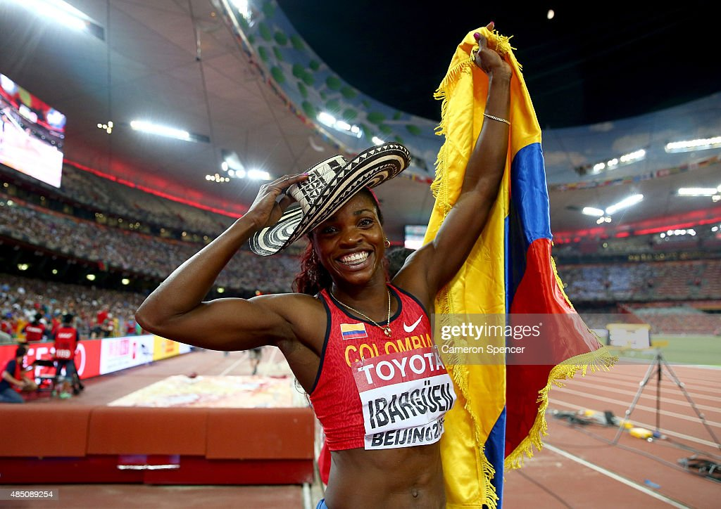 Caterine Ibarguen of Colombia celebrates after winning gold in the Women's Triple Jump final during day three of the 15th IAAF World Athletics Championships Beijing 2015 at Beijing National Stadium on August 24, 2015 in Beijing, China.