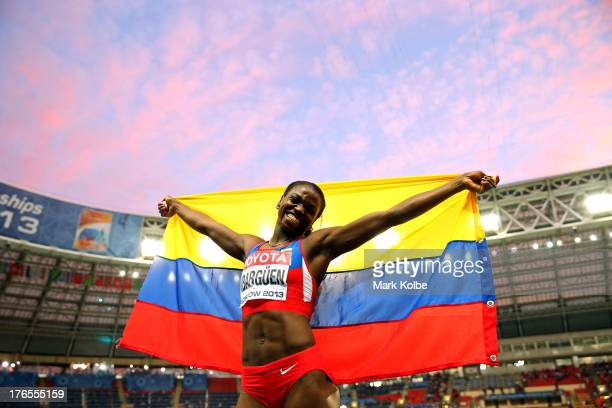 Caterine Ibarguen of Colombia celebrates winning gold in the Women's Triple Jump final during Day Six of the 14th IAAF World Athletics Championships...