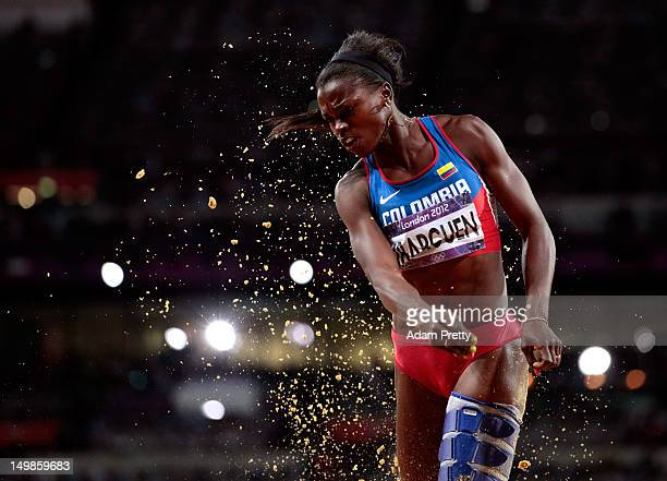 Caterine Ibarguen of Colombia compete in the Women's Triple Jump final on Day 9 of the London 2012 Olympic Games at the Olympic Stadium on August 5...
