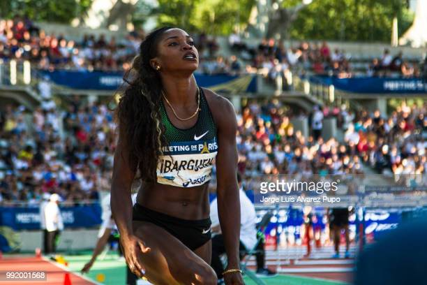 Caterine Ibarguen of Colombia competes in the Triple Jump Women of the IAAF Diamond League Meeting de Paris 2018 at the Stade Charlety on June 30...