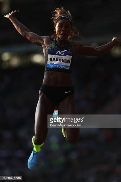 Caterine Ibarguen of Colombia competes in the Women's Long Jump during the IAAF Diamond League AG Memorial Van Damme at King Baudouin Stadium on...