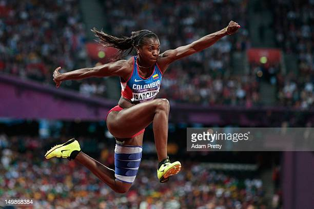Caterine Ibarguen of Colombia competes in the Women's Triple Jump final on Day 9 of the London 2012 Olympic Games at the Olympic Stadium on August 5...