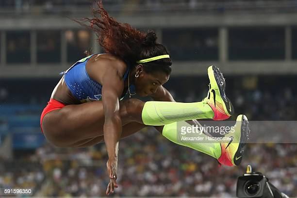 Caterine Ibarguen of Colombia competes in the Women's Triple Jump final on Day 9 of the Rio 2016 Olympic Games at the Olympic Stadium on August 14...