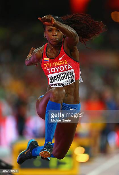 Caterine Ibarguen of Colombia competes in the Women's Triple Jump qualification during day one of the 15th IAAF World Athletics Championships Beijing...