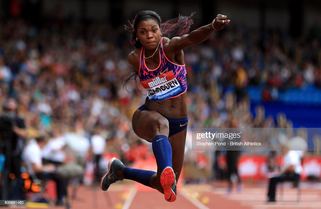 Caterine Ibarguen of Columbia in the women's triple jump during the Muller Grand Prix and IAAF Diamond League event at Alexander Stadium on August 20, 2017 in Birmingham, England.