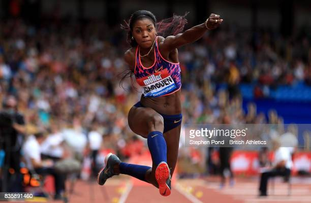 Caterine Ibarguen of Columbia in the women's triple jump during the Muller Grand Prix and IAAF Diamond League event at Alexander Stadium on August 20...