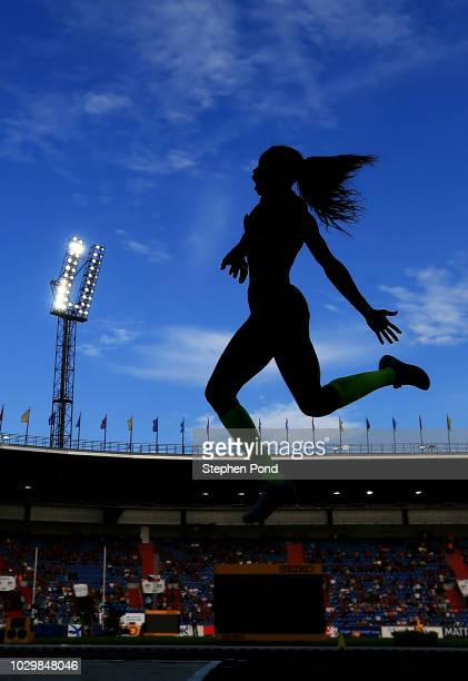 Caterine Ibarguen of Team Americas competes in the Womens Long Jump during day two of the IAAF Continental Cup at Mestsky Stadium on September 9,...