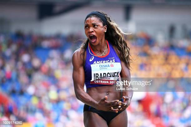 Caterine Ibarguen of Team Americas reacts during day one of the IAAF Continental Cup at Mestsky Stadium on September 8 2018 in Ostrava Czech Republic