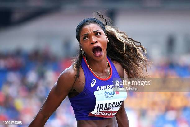 Caterine Ibarguen of Team Americas reacts in the Womens Triple Jump during day one of the IAAF Continental Cup at Mestsky Stadium on September 8,...