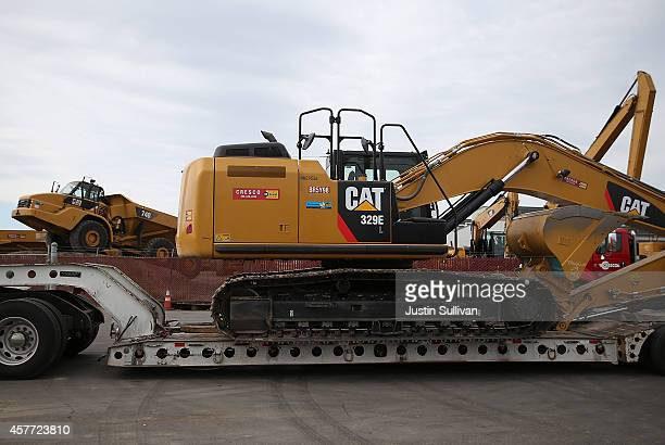 Caterpillar construction equipment is displayed at Peterson Tractor on October 23 2014 in San Leandro California Caterpillar Inc reported strong...