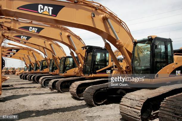 Caterpillar earth moving equipment is displayed at Patten Industries on April 24 2006 in Elmhurst Illinois Heavy equipment maker Caterpillar reported...