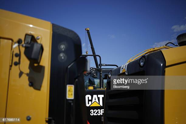 A Caterpillar Inc 323F Hydraulic Excavator is displayed for sale at the Whayne Supply Co dealership in Lexington Kentucky US on Monday Oct 17 2016...