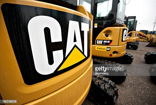 A Caterpillar Inc logo appears on the back of a 303C CR mini hydraulic excavator at a Patten Industries Inc dealership in Elmhurst Illinois US on...
