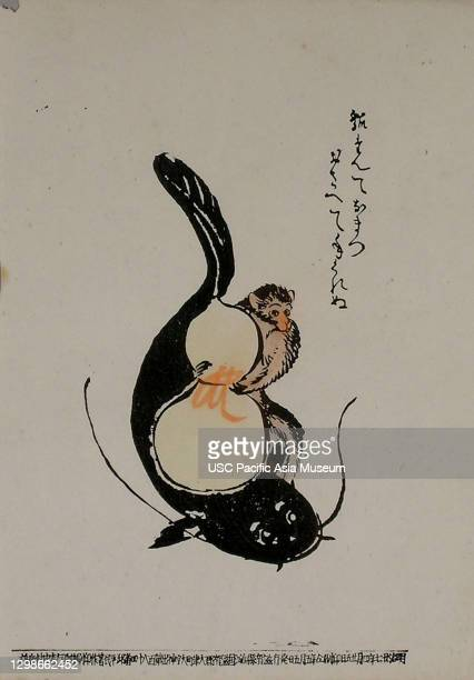 "Catfish and Gourd"" Otsu-e lithograph, Japan, Otsu ink;paper, 1997.56.122."