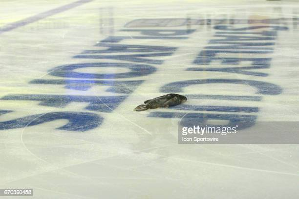 A catfish is shown on the Stanley Cup Playoffs logo on the ice prior to game three of Round One of the Stanley Cup Playoffs between the Nashville...