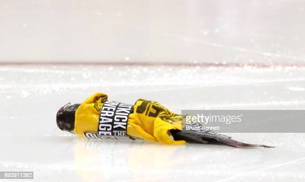 A catfish lies on the ice after being thrown by a fan at the start of Game Five of the 2017 NHL Stanley Cup Final between the Nashville Predators and...