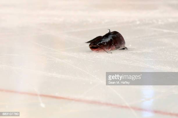 A catfish that was thrown on the ice is seen prior to Game Two of the Western Conference Final between the Nashville Predators and the Anaheim Ducks...