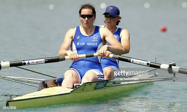 Cath Bishop and Katherine Granger of GBR row in the Women's Pair Semifinal during the Rowing World Cup on May 302003 at the Fila Idropark Milan Italy