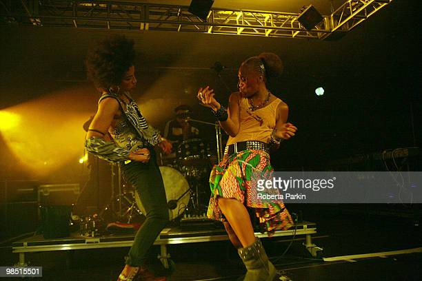 Cath Coffey and back up singer of Stereo MC's perform during South Bank Centre's Ether 10 Festival at the Royal Festival Hall on April 16 2010 in...