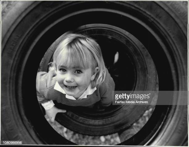 Cath Thompson Aged 2 , in the playground of the Laurel Tree-House child care center in Glebe. June 15, 1987. .