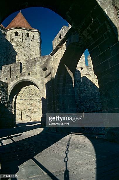 Cathar country Carcassonne France The main entry to the City of Carcassonne the Narbonnaise gate