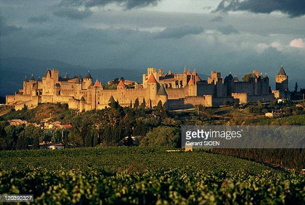 Cathar country The City of Carcassonne in France To the right the enormous tower of Vade arranged so as to be able to handle a siege on its own if...