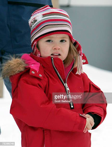 CatharinaAmalia of the Netherlands poses for photographs at the start of her annual Austrian skiing holiday on February 11 2006 in Lech Austria