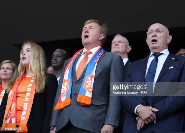 Catharina-Amalia, Princess of Orange, King Willem-Alexander of the Netherlands and Michael van Praag, President of the Royal Dutch Football...