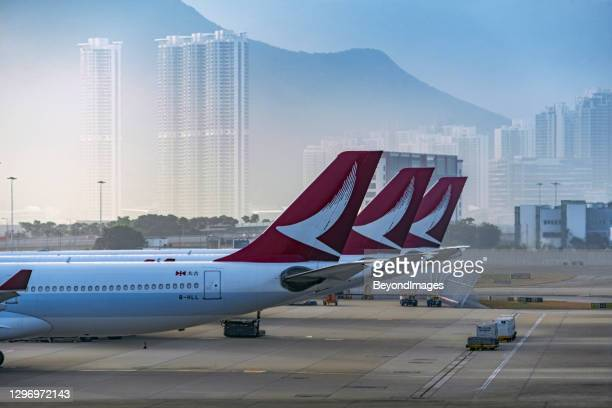 cathay dragon magenta tails in the misty hong kong morning - airplane tail stock pictures, royalty-free photos & images