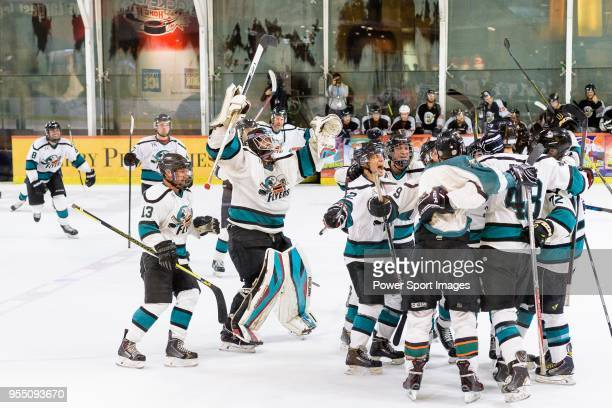 Cathay Flyers squad invades the ring after winning the Mega Ice Hockey 5s International Elite Final match between Nordic Vikings and Cathay Flyers on...