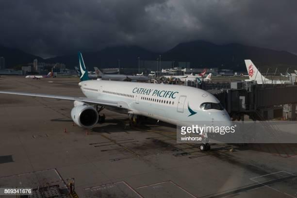 Aeronaves de Cathay Pacific Airbus A350-900 en Hong Kong