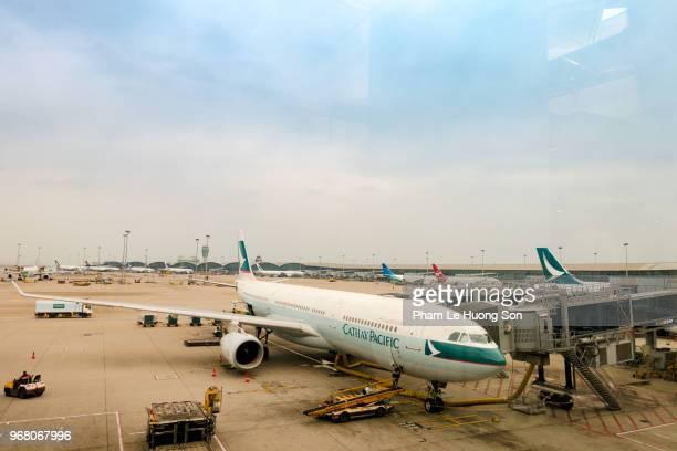 Cathay Pacific Airplanes parking at Hong Kong International Airport