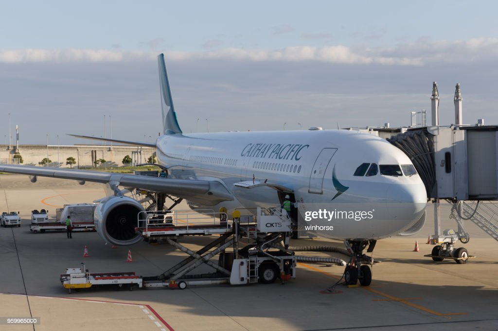 Cathay Pacific Airways at Kansai International Airport in Japan : Stock Photo