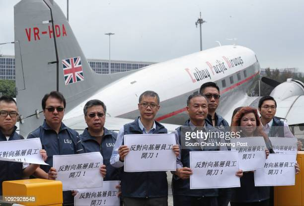 Cathay Pacific Airways Local Staff Union hold a protest upon the company's confirmation on Monday morning that it will shed almost 600 staff from its...