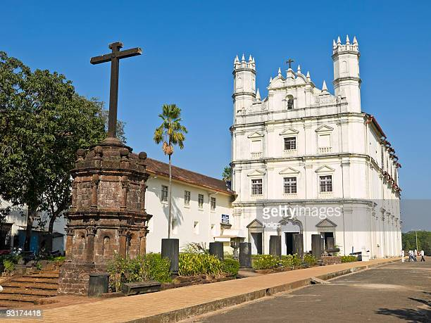 cathederal in old goa - goa stock photos and pictures