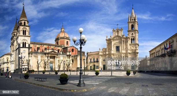 Cathedral Acireale Dome square Sicily Italy Europe