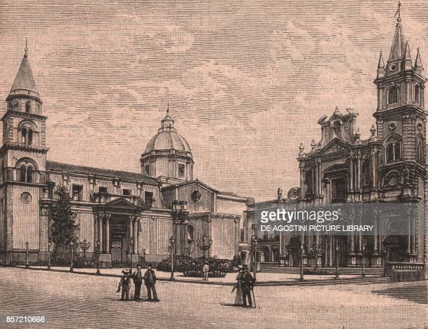 Cathedral and church of Saints Peter and Paul Acireale Sicily Italy woodcut from Le cento citta d'Italia illustrated monthly supplement of Il Secolo...