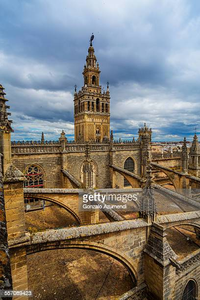 Cathedral and Giralda in Seville in Andalusia